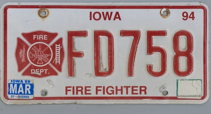 IOWA Firefighter - Nummernschild # FD758 =