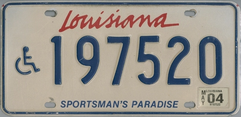 LOUISIANA Handicapped  Special - Nummernschild # 197520 =