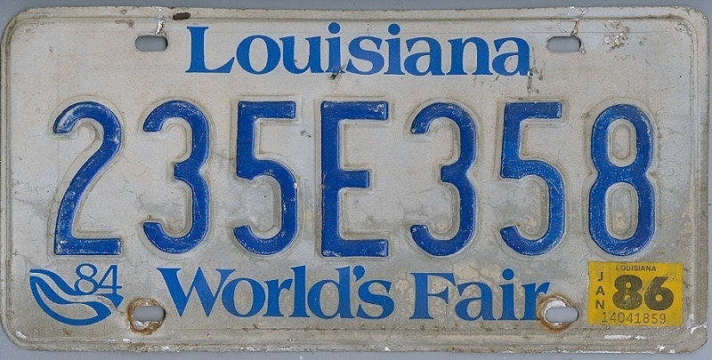 LOUISIANA World's Fair - Nummernschild # 235E358 =