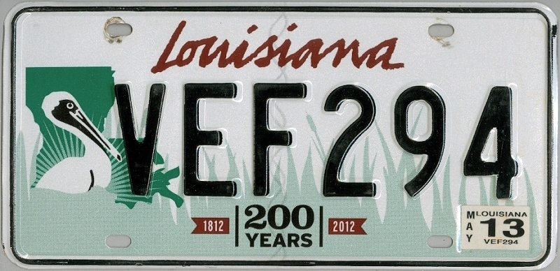LOUISIANA 200 years - Nummernschild (Typ I) # VEF294 =