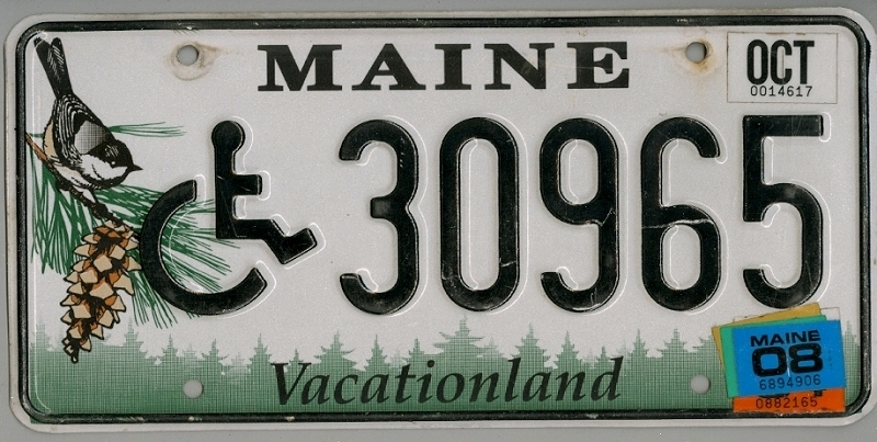 MAINE Handicapped  Special - Nummernschild # 30965 =