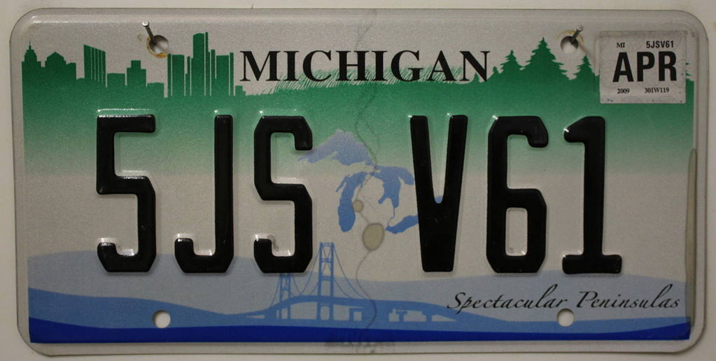 MICHIGAN Spectacular Peninsulas - Nummernschild # 5JSV61 =