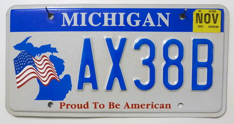 MICHIGAN Proud To Be American - Nummernschild # AX38B =