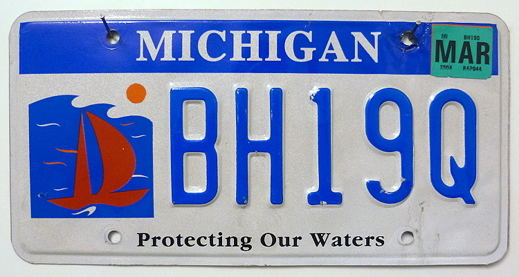 MICHIGAN Protecting Our Waters - Nummernschild # BH19Q =