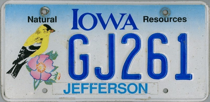 IOWA Natural Resources - Nummernschild # GJ261 ...