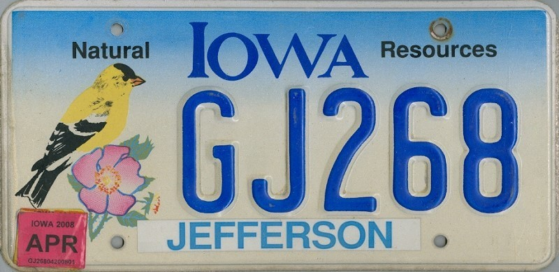 IOWA Natural Resources - Nummernschild # GJ268 =