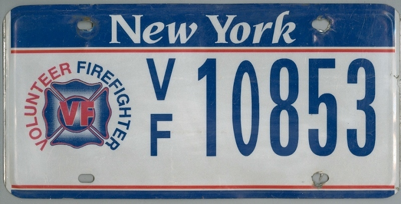 NEW YORK Volunteer Firefighter - Nummernschild # VF10853 ...