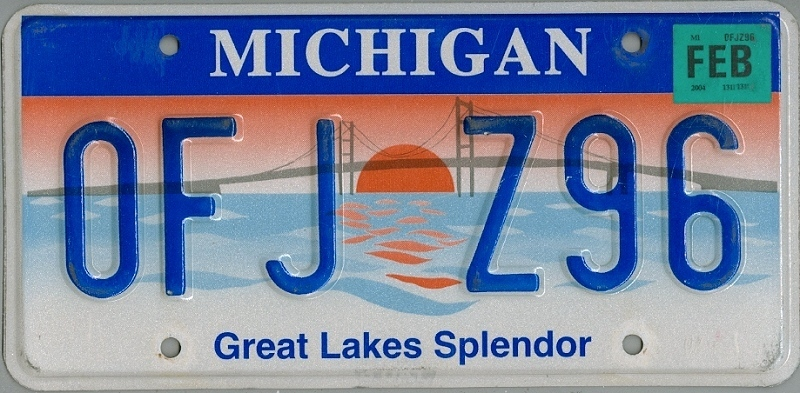 MICHIGAN Great Lakes Splendor - Nummernschild # OFJZ96 =