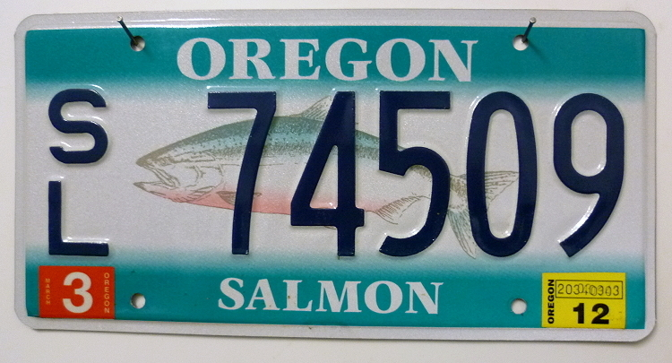 OREGON Salmon - Nummernschild # SL74509 =