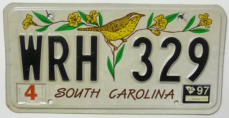 SOUTH CAROLINA - Nummernschild ## WRH329 =