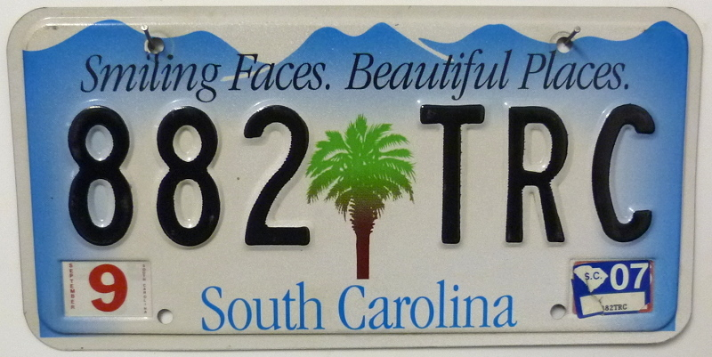 SOUTH CAROLINA - Nummernschild # 882TRC =