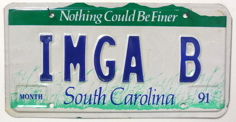 SOUTH CAROLINA 1991- Nummernschild # IMGAB