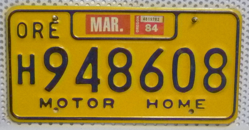 ORE Oregon Motor Home - Nummernschild # 948608 =