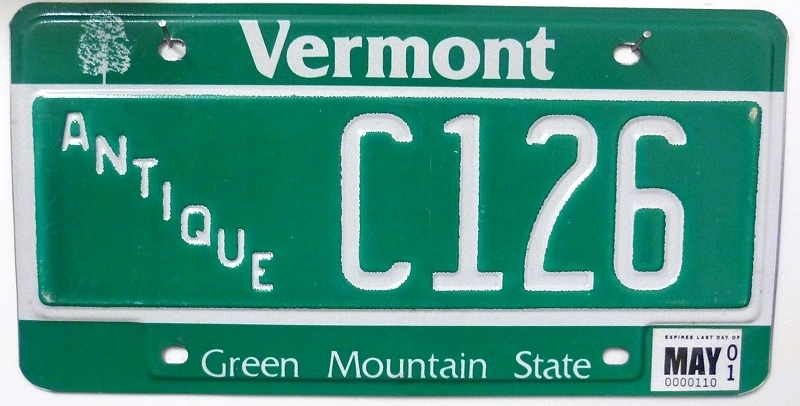 VERMONT Antique - Nummernschild ### C126 =