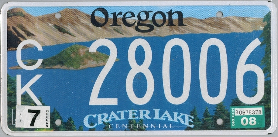 OREGON Crater Lake - Nummernschild # CK28006 =