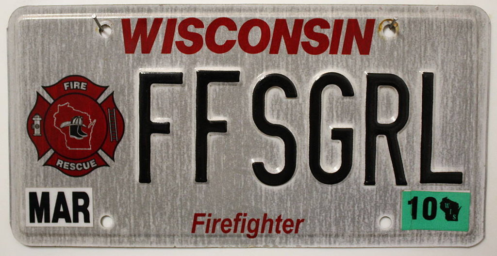 WISCONSIN Firefighter - Nummernschild # FF(Mar10)