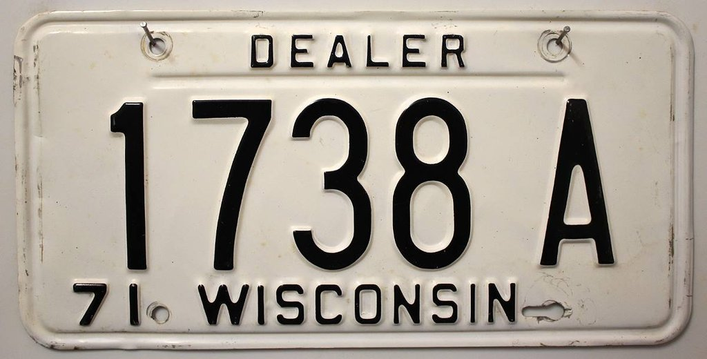 WISCONSIN Dealer '71 - Nummernschild ## 1738A ...