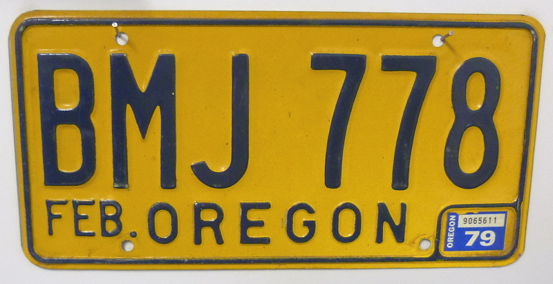 OREGON 1979 - Nummernschild ## BMJ778 =