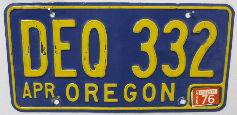OREGON 1976 - Nummernschild ## DEQ332 =