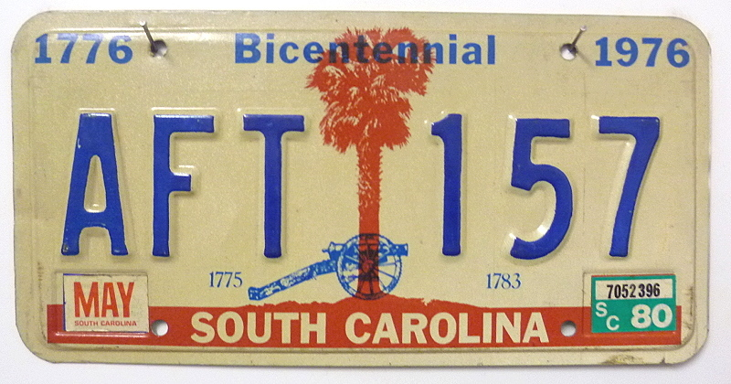 SOUTH CAROLINA 1776 Bicentennial 1976 - Nummernschild # AFT157 =