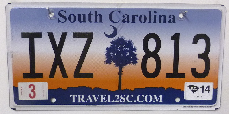 SOUTH CAROLINA Travel 2SC com - Nummernschild # IXZ813 =