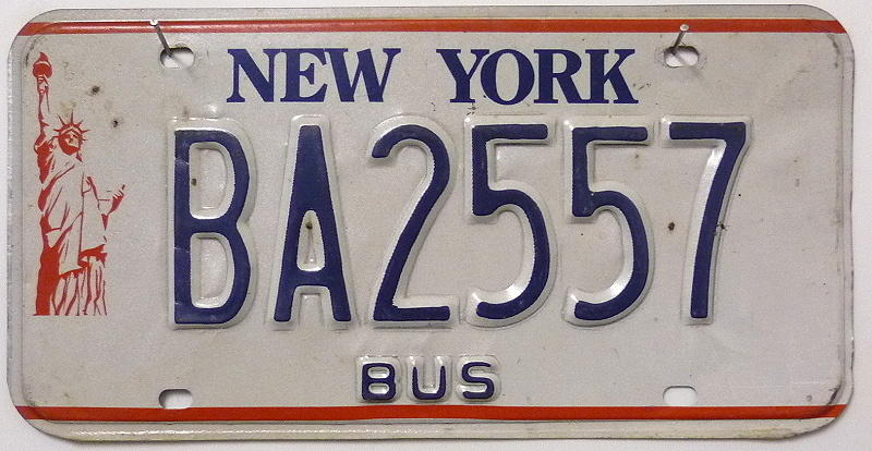 NEW YORK Bus Typ - Nummernschild # BA2557 ...