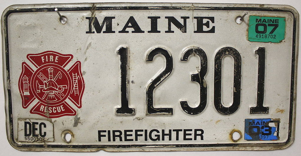 MAINE Firefighter - Nummernschild # 12301 =