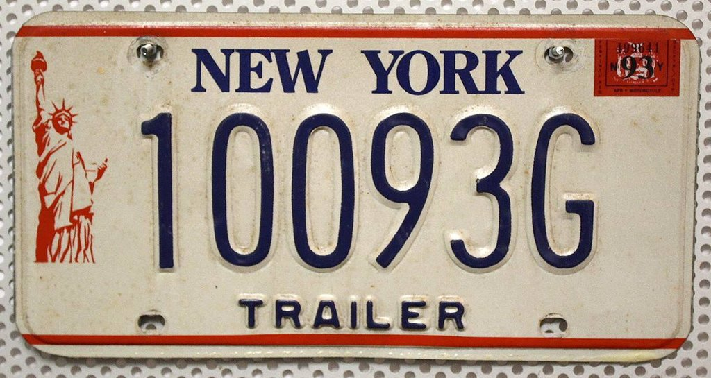 NEW YORK Trailer - Nummernschild # 10093G =