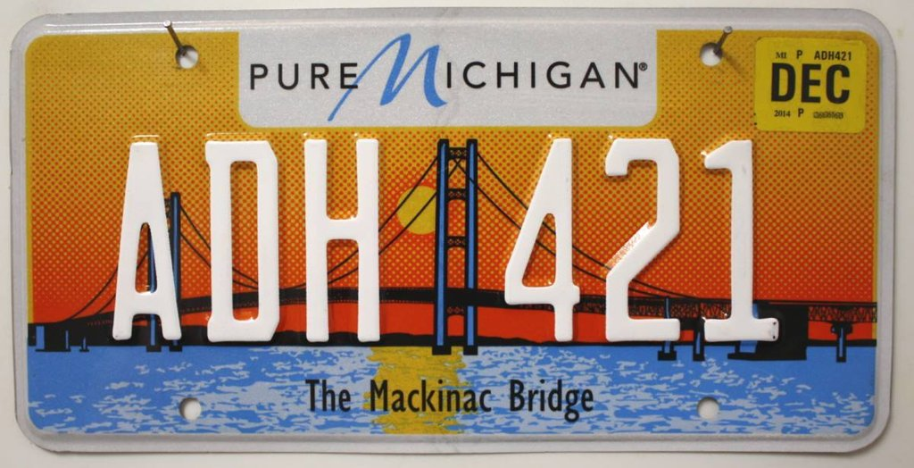 MICHIGAN The Mackinac Bridge - Nummernschild # ADH421 =