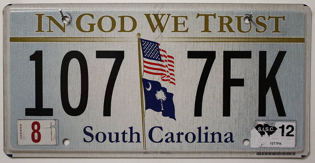 SOUTH CAROLINA In God We Trust - Nummernschild # 1077FL =