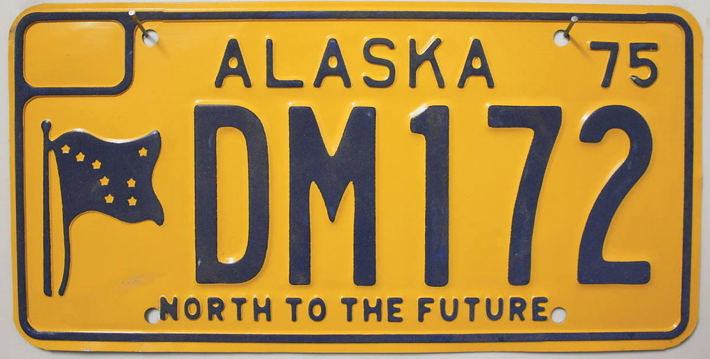 ALASKA 1975 North to the Future - Nummernschild # DM172