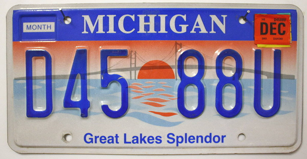 MICHIGAN Great Lakes Splendor - Nummernschild # D4588U =