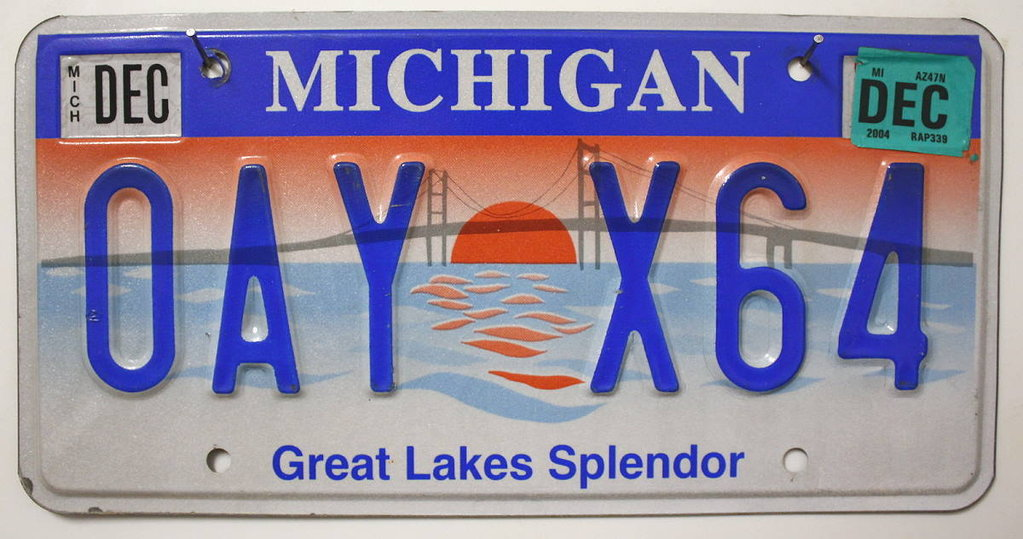MICHIGAN Great Lakes Splendor - Nummernschild # OAYX64 =