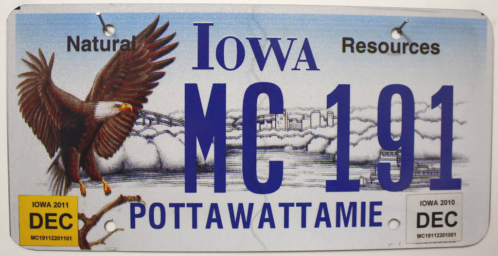 IOWA Natural Resources - Nummernschild # MC191 =