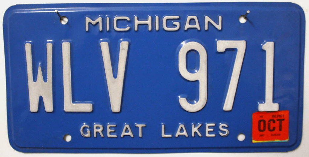 MICHIGAN Great Lakes - Nummernschild # WLV971 =
