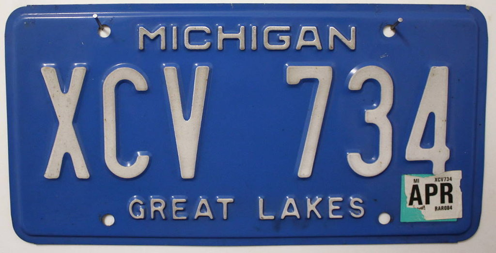 MICHIGAN Great Lakes - Nummernschild # XCV734 =