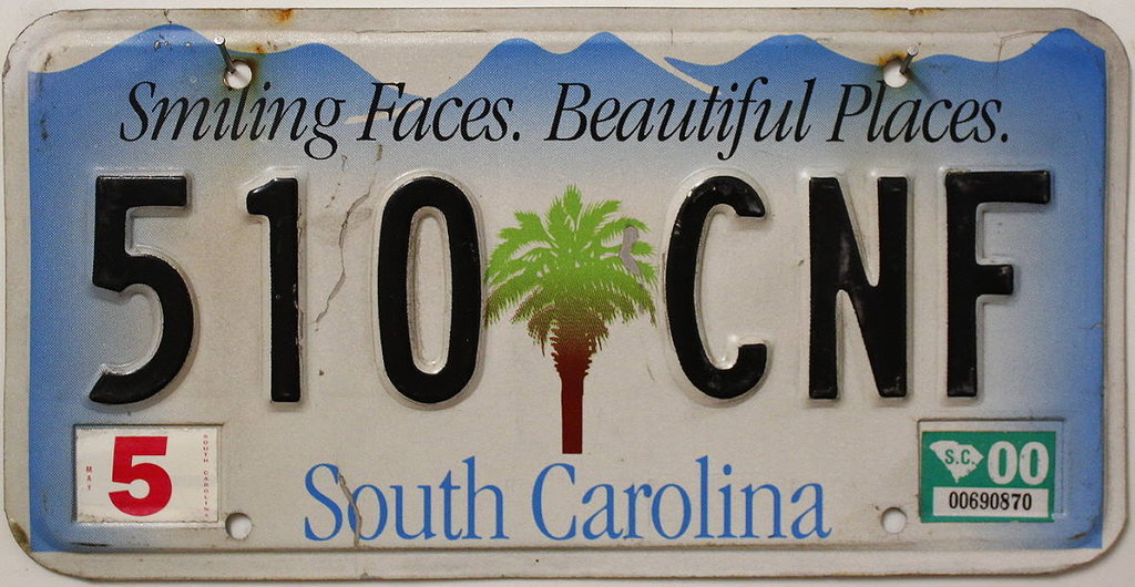 SOUTH CAROLINA - Nummernschild # 510CNF =