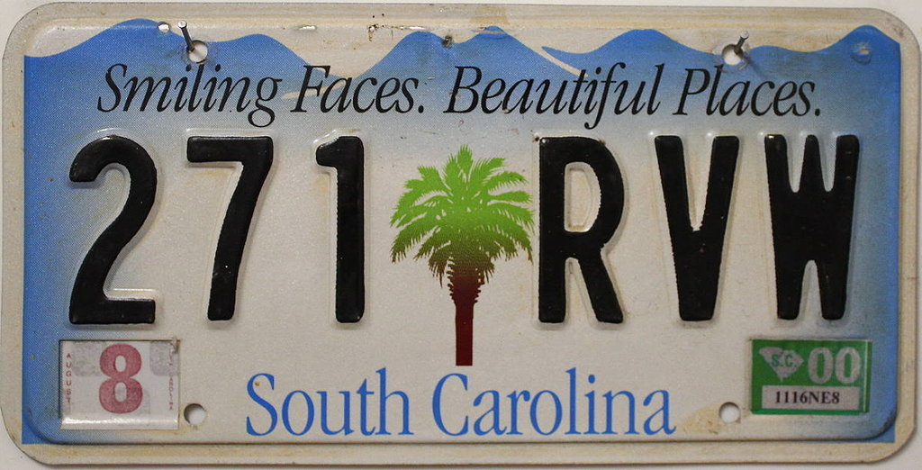 SOUTH CAROLINA - Nummernschild # 271RVW =