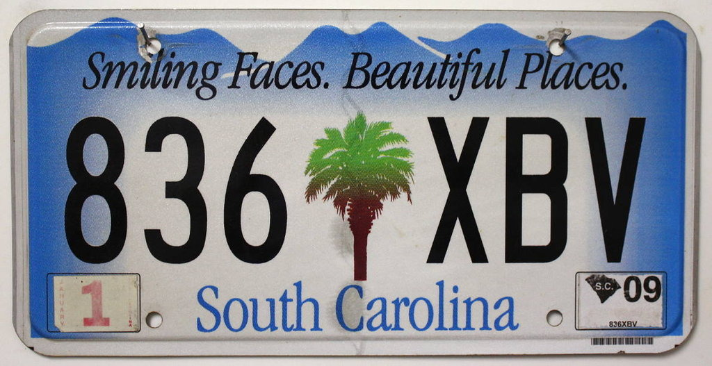 SOUTH CAROLINA - Nummernschild # 836XBV =