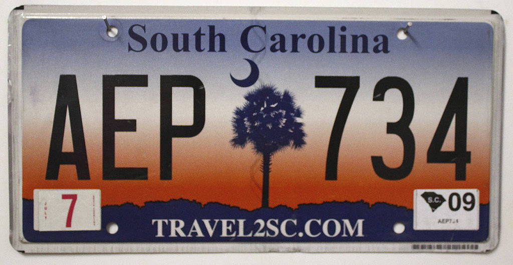 SOUTH CAROLINA Travel 2SC com - Nummernschild # AEP734 =
