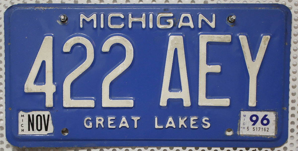 MICHIGAN Great Lakes - Nummernschild # 422AEY