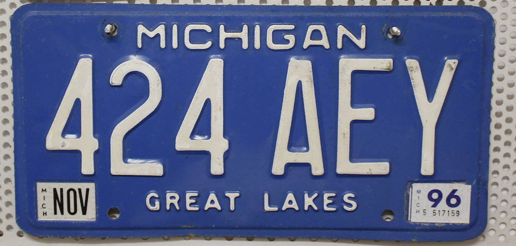 MICHIGAN Great Lakes - Nummernschild # 424AEY