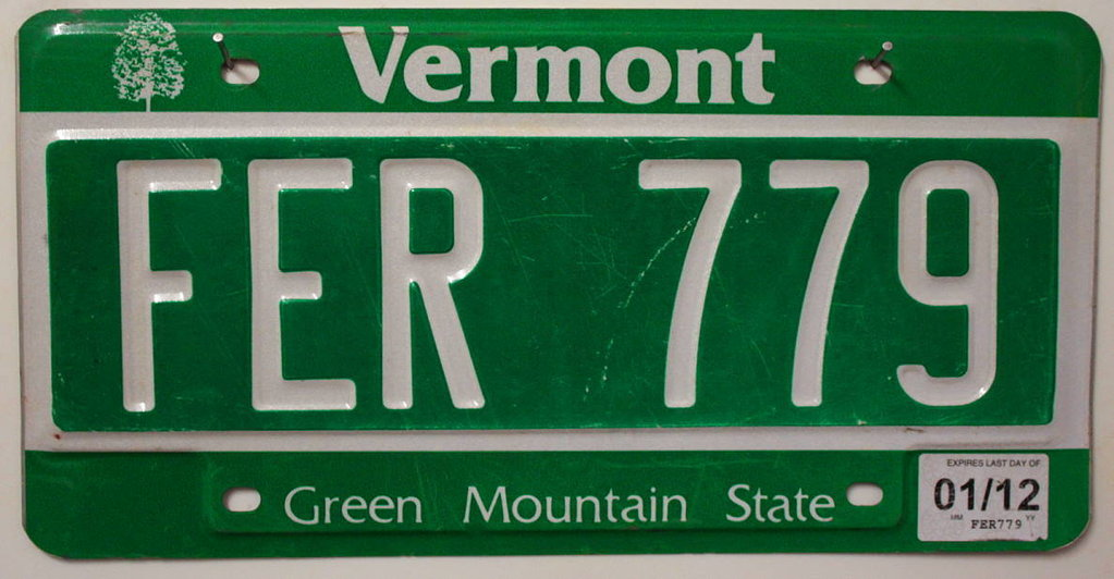 VERMONT Green Mountain State - Nummernschild # FER779 =