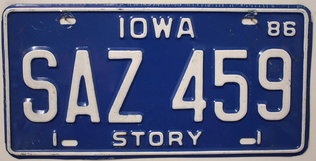 IOWA Story County - Nummernschild # SAZ459 ...