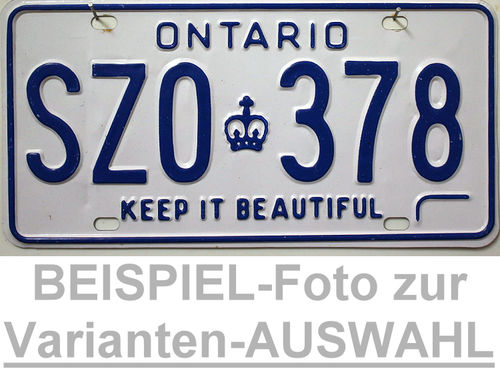 ONTARIO Keep it Beautiful - Nummernschild # Schilder Auswahl