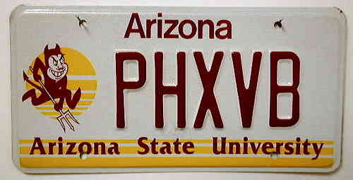 ARIZONA State University - Nummernschild ## PHXVB ...