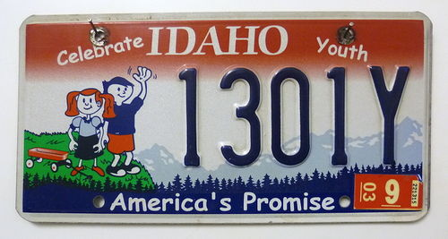 IDAHO Celebrate Youth - Nummernschild # 1301Y =