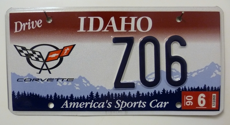 IDAHO America's Sports Car - Nummernschild # Z06