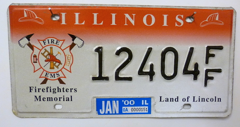 ILLINOIS Firefighters Memorial - Nummernschild # 12404FF =