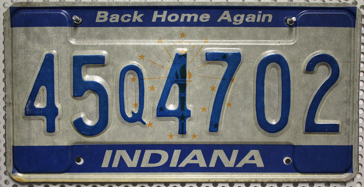 INDIANA Back Home Again - Nummernschild # 45Q4702
